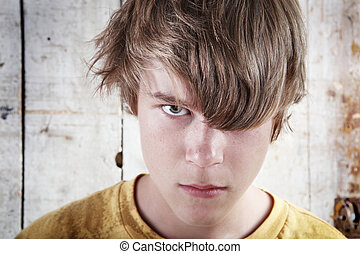 enojado, adolescente, niño