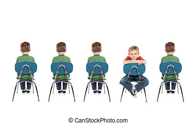Individuality - a group of boys sit in a row in school...