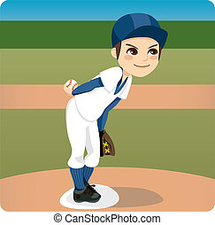 Baseball Pitcher - Young baseball pitcher preparing to throw...