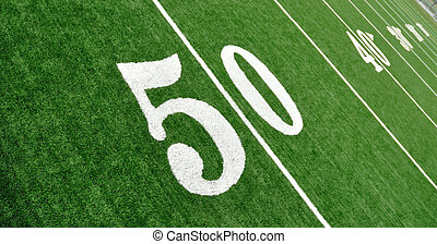 View From Above of Fifty Yard Line on American Football...