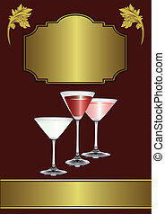 A Drinks Menu Template with drinks glasses on a maroon and...