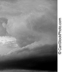 Restless Skies - Violent thunderstorm captured in black and...