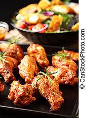 quentes, galinha, asas