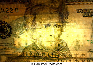 Twenty dollar bill - A close up of a twenty dollar bill.