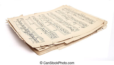 old music sheets over white background