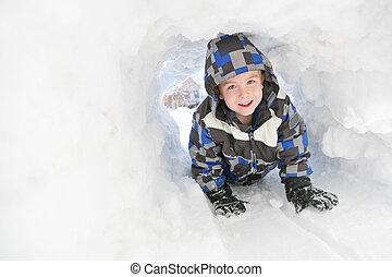 Garçon, jouer, jeune, neige