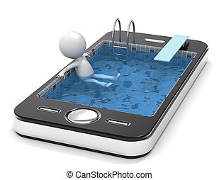 Application - 3D little human character Ralaxing in a Pool....