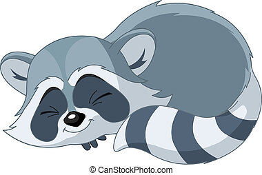 Funny sleeping cartoon raccoon - Illustration of cute funny...