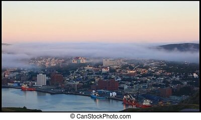 St. John\'s Harbour - Fog moving over the city of St....