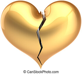 Broken golden heart icon - Broken heart shape total golden....