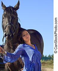 sexy women with black horse