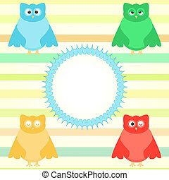 cute cartoon owl set on colorful background