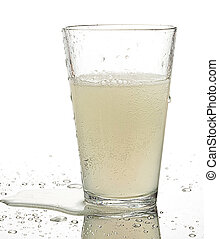 refreshment on a glass on white background