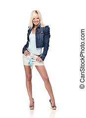 Sexy lady - Young blond woman in casual clothes isolated on...