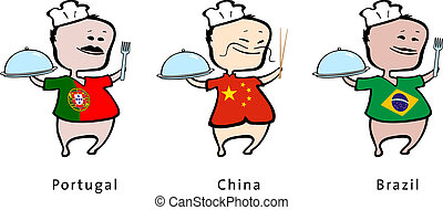 Chef of restaurant from Portugal, China, Brazil - vector...