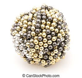 Ball of Magnets on White Background.