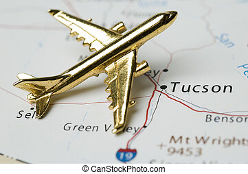 Plane Over Tucson Arizona, Map is Copyright Free Off a...