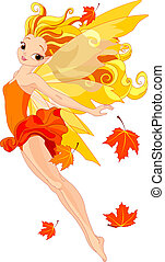 Autumn fairy - Illustration of a beautiful autumn fairy in...