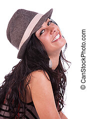 Happy beautiful Woman,with a hat, isolated on white, studio shot