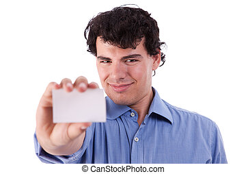 Young businessman with a blank business card in hand, isolated on white background. studio shot