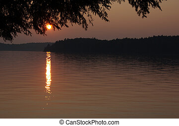 Sunset on Burnt Island Lake in Algonquin Park