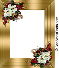Christmas border gold floral - Image and illustration...