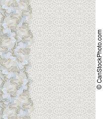Gardenia, frontera, encaje, boda