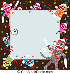 Sock Monkey Party Invitation - Momma, Daddy and colorful...