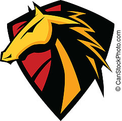 Mustang Stallion Graphic Mascot Ima - Graphic Mascot Icon of...