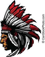indianin, szef, maskotka, głowa, graficzny