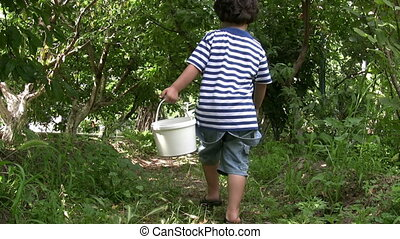Little Boy picking cherry