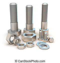 Bolts and screws - Metal bolts and screws isolated on the...