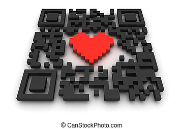 QR-code with heart - Render of a QR code quick response on a...
