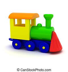 Locomotive - Toy locomotive isolated on the white background