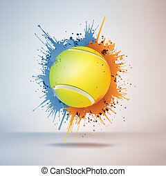 Tennis Ball in Paint on Vignette Background. Vector.