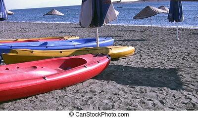 Canoes on the beach Full HD 1080p
