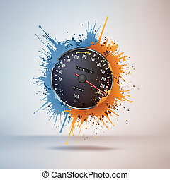 Speedometer in Paint on Vignette Background. Vector.