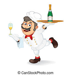 Cartoon Chef - Chef Cook with Tray and Bootle of Champagne,...