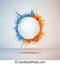 Golf Ball in Paint on Vignette Background. Vector.