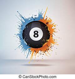 Pool Billiards Ball in Paint on Vignette Background Vector