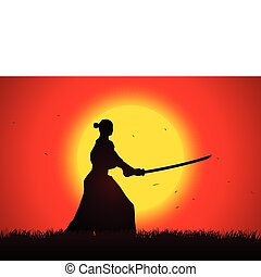 Samurai - A samurai stance with the sunset as the background...