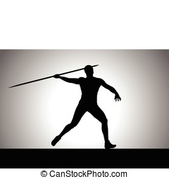 Javelin Thrower - Silhouette illustration of javelin throw...