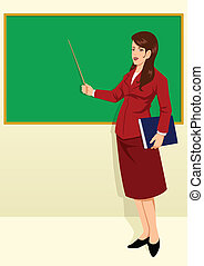 Teacher - Vector illustration of a teacher in front of the...