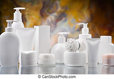 composition of white skincare items