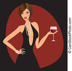 Red Wine - A beautiful woman holding a glass of red wine.