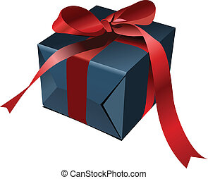 gift box  with bow. Vector illustration