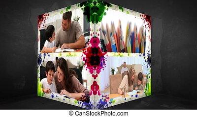 3D Animation-Cube of Familymembers doing Homework