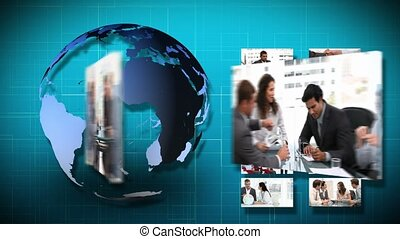 3D Animation of several Businessmeetings