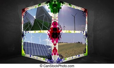 3D Animation-Cube of renewable Energy