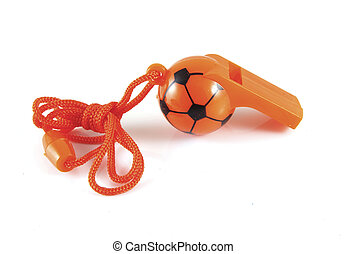 Orange whistle - Orange soccer whistle on a white...